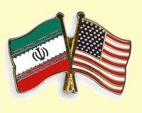 Flaggen der Kriegsnation Vereinigte Staaten von Amerika (VSA/USA) und dem friedlichen Land der Arier, Iran (Aryānam Xšaθra)