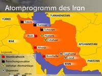 Karte mit den wichtigsten Standorten der iranischen Atompolitik. Bild: WEBMASTER at de.wikipedia