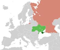 Lage der Ukraine mit der Krim und Lage RusslandsKrimübrige UkraineRussland