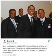 Foto von 2005 — Barack Obama zusammen mit Louis Farrakhan. Bild: Screenshot Twitter