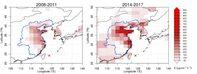 Regionale FCKW-11-Emissionen in Ostasien für die Jahre 2008-2011 und 2014-2017, wie sie aus Beobachtungen an den Messstationen Gosan und Hateruma (rote Kreuze). Quelle: Empa (idw)