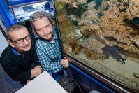 Als eines der wenigen leuchtenden Meerestiere lässt sich der Blitzlichtfisch auch im Aquarium halten. Stefan Herlitze (links) und Jens Hellinger untersuchen sein Leuchten. Quelle: Foto: RUB, Marquard (idw)