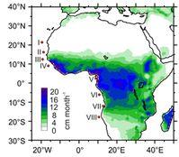 Heutige Verteilung der Niederschlagsmengen über dem tropischen Afrika. Die roten Punkte markieren die acht Probennahmelokationen. Bild: MARUM - Zentrum für Marine Umweltwissenschaften, Universität Bremen