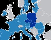 Visegrád‑4 Gruppe in Dunkelblau, in der Rest-EU.