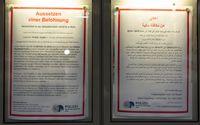 Fahndungsplakat in deutscher und arabischer Sprache, Staatsanwaltschaft Köln