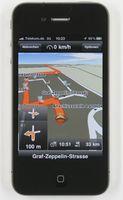 """Die Navigationssoftware MN 7 von Navigon hat im ADAC-Test auf dem iPhone 4 die Bestnote """"gut"""" (1,7) erhalten. Bild: ADAC"""