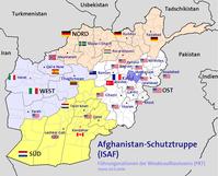 Das ISAF-Verantwortungsgebiet unter NATO-Führung mit territorialer Zuordnung der beteiligten Nationen (ohne Berücksichtigung der Operation-Enduring-Freedom-Kräfte)