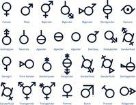 Sammlung von Gender-Symbolen oder Zeichen für sexuelle Freiheit und Gleichberechtigung in der modernen Gesellschaft. 29 Symbole für den Monat des Stolzes oder jede Bewegung für sexuelle Vielfalt Bild: Demokracija / UM / Eigenes Werk