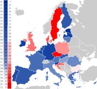 Rot: Ablehnung des Euro; Blau: Zustimmung zum Euro (Stand März 2018)