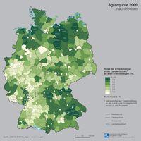 Agrarquote 2009 nach Kreisen Quelle: Karte: IfL 2012 (idw)