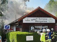Gebäudebrand Wohnmobilstellplatz. Bild: Feuerwehr Kleve