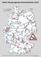 """Die Stausituation auf Deutschlands Autobahnen. Bild: """"obs/ADAC/ADAC e.V."""""""