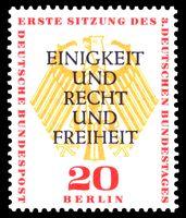 """""""Einigkeit und Recht und Freiheit"""": Briefmarke von 1957"""