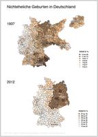 Alte Ungleichheit: Der Anteil nichtehelicher Geburten war schon 1937 in den Gebieten östlich der späteren deutsch-deutschen Grenze mit durchschnittlich 10,2 Prozent deutlich höher als westlich davon (6,3 Prozent, mit Bayern als historischer Ausnahme – siehe Text). Heute (2012) ist der Prozentsatz im Osten (58,8) über doppelt so hoch wie im Westen (28,4) und reicht von 16,7 Prozent im baden-württembergischen Alb-Donau-Kreis bis zu 70,9 Prozent in Ostprignitz-Ruppin in Brandenburg.