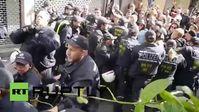 """Screenshot aus dem Youtube Video """"Stuttgart: Tausende gegen Pegida - Konfrontationen zwischen Polizei und Demonstranten"""""""