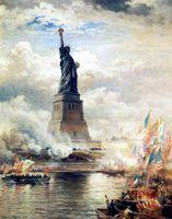 Enthüllung der Freiheitsstatue von Edward Moran, Öl auf Leinwand, J.Clarence Davies Collection, Museum of the City of New York (Symbolbild)