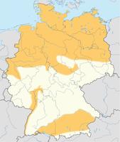 Gebiete mit Schiefergaspotenzialen in Deutschland (in orange)