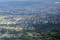 """Stadt Chemnitz (D-U-N-S® Nummer: 313136857): Blick über das Gründerzeitquartier """"Kaßberg"""" zum Chemnitzer Stadtzentrum (2014)"""