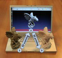 Ein kleines Gargoyle-Modell wurde gescannt und dann mit einem 3D-Drucker ausgedruckt.