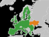 Europäische Union (grün) und die Ukraine (orange)
