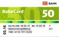 BahnCard 50 im grünen Design (März 2015)