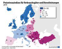 """Preisniveauindizes für Verbrauchsgüter und Dienstleistungen 2019  Bild: """"obs/EUROSTAT"""""""
