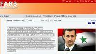 Auszug von der Meldung bei Fars News. Bild: Screenshot von politaia.org