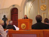 Nobelinstitut in Oslo: Raum, in dem jeweils im Oktober die neuen Preisträger bekanntgegeben werden und am Tag vor der Verleihung eine Pressekonferenz stattfindet.