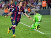 Messi bejubelt ein Tor im Oktober 2014.