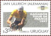 Jan Ullrich bei der Tour de France 1997 auf einer Briefmarke aus Uruguay, Ausgabetag 19. November 1997
