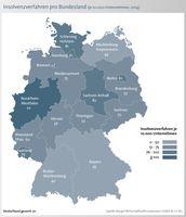 Prozentuale Veränderungen: Mehr Insolvenzen in fünf Bundesländern