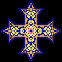 Das koptische Kreuz als Symbol der koptischen Kirche ist eine Abwandlung des Jerusalemkreuzes.