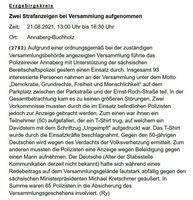 Screenshot der Polizeimeldung 2782 der Polizeidirektion Chemnitz zur Demonstration in Annaberg-Buchholz am 21. August 2021 - SNA, 1920, 24.08.2021 (Foto: © Screenshot / Polizei Sachsen)