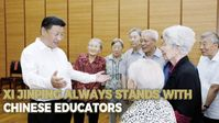 Der chinesische Präsident Xi Jinping spricht während eines Besuchs in der Beijing Bayi School mit erfahrenen Lehrerinnen und Lehrern, 9. September 2016. Bild: Xinhua)