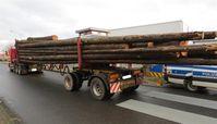 Holztransport mit Douglasienstämmen Bild: Polizei