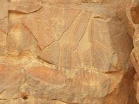 Die Felsbilder in manchen Trockentälern zeigen: In früheren Zeiten lebten hier Krokodile, Giraffen, Nilpferde und Elefanten. Die Landschaft hat sich seither dramatisch gewandelt. Bild: ZDF und Dr. Tilman Lenssen-Erz