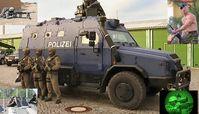 Survivor R: Polizei mutiert zum Militär. Die Frage ist: Warum? Gegen wen sollen Panzerwagen mit Maschinengewehren eingesetzt werden?