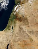Satellitenbild von Palästina, ergänzt mit den heutigen Staatsgrenzen.