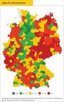 Atlas für Strompreis Grafik: obs/Stromauskunft.de/Jörg Heidjann