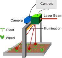 Prinzipsskizze eines Laboraufbaus zur Unkrautbekämpfung mit dem Laser. Die Bildverarbeitung erkennt das Unkraut und lenkt den Laserstrahl darauf.