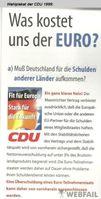 Wahlplakat der CDU 1999: Was kostet uns der EURO?