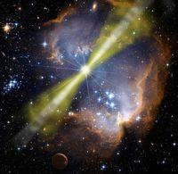 Künstlerische Darstellung eines hellen Gammablitzes in einer Sternenformation. Die Energie aus der Explosion strahlt in zwei schmalen, entgegengesetzt gerichteten Jets.
