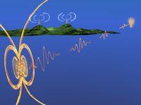 Das Experiment aus der Perspektive eines Künstlers: Ein Molekül sendet einen Strom von einzelnen Photonen zu einem zweiten, weit entfernten Molekül Quelle: Bild: Robert Lettow (idw)