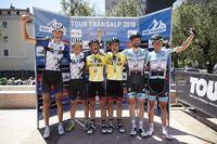 Die Top-3 der TOUR Transalp: Spoegler, Markolf, Michels, Glorieux, Vrecko und Kessler