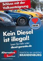 "Plakatmotiv ""Kein Diesel ist illegal"". Bild: ""obs/AfD-Fraktion im Brandenburgischen Landtag/AfD-Fraktion im Landtag BRB"""