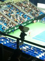 Eine Hawk-Eye-Kamera bei einem Tennis-Turnier in Moskau, 2012