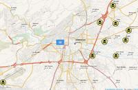 Karte der mutmaßlichen Anschlagsorte vom 21.August sowie des Standorts der UN-Inspekteure zum Zeitpunkt des Angriffs. Der westliche Stadtteil Muadhamiyah liegt außerhalb der Karte.