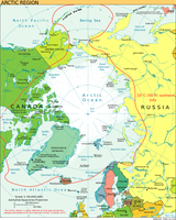 Politische Karte der Arktis (englisch), die Rote Linie ist die 10-°C-Juli-Isotherme