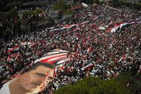 Pro-regime demonstration in Latakia, heartland of Assad's Alawite people