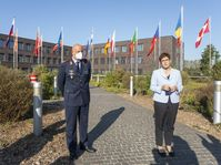 Bundesministerin der Verteidigung, Annegret Kramp-Karrenbauer beim Pressestatement bei der Indienststellung des ASOC (Air and Space Operation Centre) in Kalkar, am 21.09.2020 Bild:     Bundeswehr / Jane Schmidt